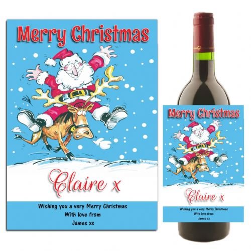 Personalised Christmas Xmas Wine / Champagne Bottle Label Gift N119